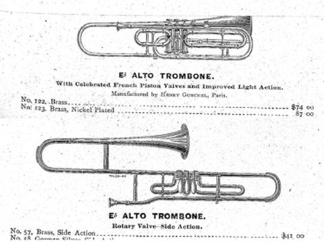 Lyon Healy alto 1880 alto trombone history timeline will kimball