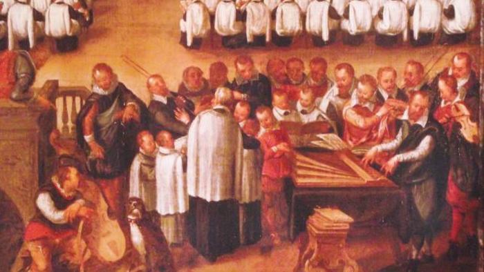 Bingen Kreis / Christian Erbach als Organist im Augsburger Dom während einer Regionalsynode 1610. Auf dem Ausschnitt des Bildes von Thomas Maurer sind Sänger und Musiker der Dom-Schola zu sehen: Geiger, Posaunist und Dudelsack-Bläser – begleitet von einem Hund...