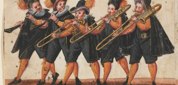 Trombone-cornett quintet in a wedding procession (Germany, ca. 1590)